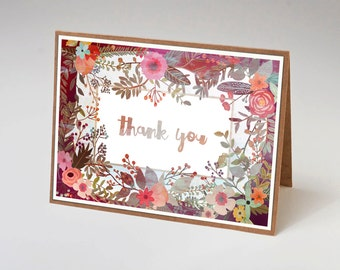 """Floral Thank You Card, 7x5"""", Note Card, Brown Cardstock, Penelope and the Ducks"""