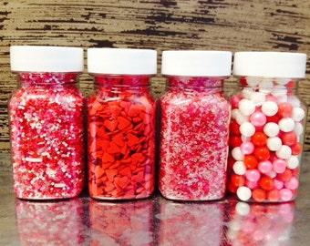 Pink ~ Red ~ White ~ Valentine Day Sprinkles ~ Cookie Sprinkles ~ Cupcake Sprinkles ~ Cake Sprinkles