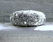 Vintage Art Deco 18K White Gold Diamond Ring - 2.12ct.
