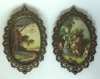 Vintage Pair Oval Antique Brass Framed Prints Florentine Ornate
