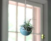 Hanging Planter, Round Turquoise Planter for Air Plant, Tillandsia.  Indoor planter, great gift for gardeners and plant lovers, handmade!