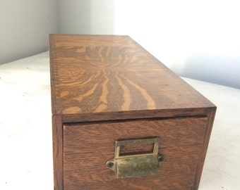 Library Card File Cabinet Tiger Oak