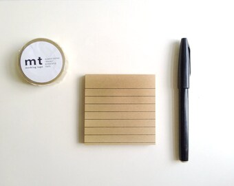 Kraft Paper Post-it, Size 3x3 inches - Kraft paper note pad with black line/ Post-it Notes/Sticky Notes/ Desk Accessories