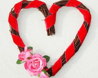 Heart Shaped Wreath - Valentine's Day or Wedding Decor