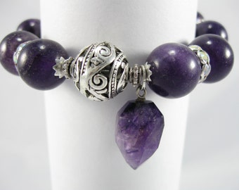 Amethyst Bracelet, Amethyst Charm Bracelet, Gemstone Bracelet, Purple Bracelet, Gemstone and Crystal Bracelet, Bauble Bracelet
