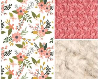 Coral Flowers Baby Blanket, Girl Baby Blanket, Baby Girl MINKY Blanket, Minky Baby Blanket, Floral Baby Blanket, Personalized Baby Blanket