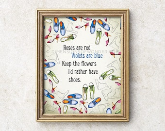 Shoe Quote ART PRINT, Shoe art, Shoes art print, Shoe poster, Shoes hand painted, Hand drawn shoes, Shoe lover gift, Inspirational print.