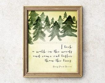 Thoreau quote print, inspirational art print, inspiring art print, inspirational typographic poster, Henry David Thoreau typography print.