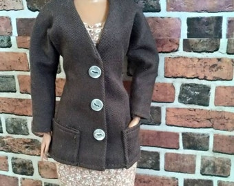 Brown Twill Jacket for Barbie or similar fashion doll