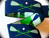 """Lacrosse Woven Ribbon - 1"""" x 2 3/4 yds  Navy, Green and White - 1 available"""