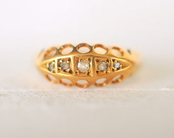 SALE - Edwardian Antique 1900's Rose cut Diamonds engagement wedding 18k gold ring / gypsy boat ring