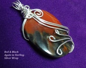 Red Agate Wire Wrapped Pendant Sale Priced