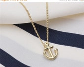 ON SALE Make a wish Friendship necklace chain with gold lucky anchor charm