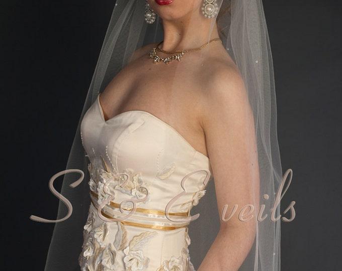 VEIL with Scattered PEARLS// bridal veil, wedding veil, waist length veil, champagne, blush, ivory, diamond white, traditional veil, white
