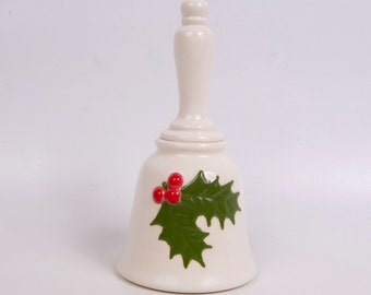 Vintage Holly and Ivy Hand Bell Ceramic Raised Porcelain Hand Painted Off White Large Table Bell Christmas Decor Hostess Gift