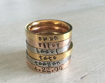 Stackable name ring. Mother's Ring. Children name ring. Stacker name ring. Stacking Ring Set. Mother's day. Engraved ring. Mother's day gift