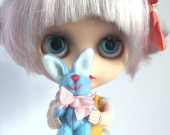 Mini Blue Bunny Bopkin - for 1/6 scale dollhouse collection - perfect for Blythe, Pullip, and Lati