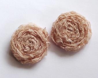 2 Champagne Lace Fabric Rosettes Embellishment