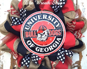 University of Georgia Burlap Wreath with Round Bulldog Sign - Georgia Bulldogs Wreath - Burlap Collegiate Wreath
