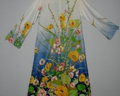 HUGE 60% OFF F.A.I. Bright Colorful Floral Long Maxi Zippered Dress/Robe/Moo Moo, Bell Sleeves sz S