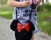 Minnie Mouse inspired crochet purse, toddler purse, kids purse, mickey, minnie, red, black, crochet