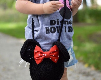 Minnie Mouse inspired crochet purse, toddler purse, kids purse, mickey, minnie, red, black, crochet