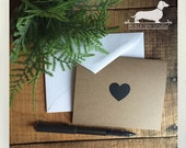CLEARANCE! Love. Brown Kraft Note Cards (Set of 4) -- (Valentine Card, Vintage-Style, Baby Shower, Simple, Thank You Card, Bridal Shower)