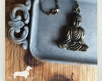 Buddha. Necklace -- (Vintage-Style, Rustic Chic, Boho, Zen, Asian, Simple, Birthday Gift Under 10, Birthday Gift, Buddha Pendant, Brass)