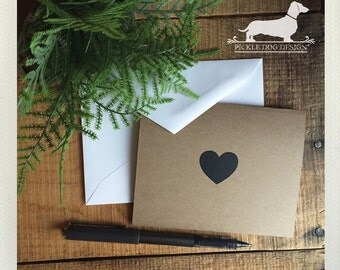 CLEARANCE! Love. Brown Kraft Note Cards (Set of 4) -- (I Love You Card, Vintage-Style, Baby Shower, Simple, Thank You Card, Bridal Shower)