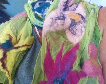 Nuno Felted Scarf, Felt Shawl, Floral Scarf, 100% Silk Wrap, Hand Felted Scarf