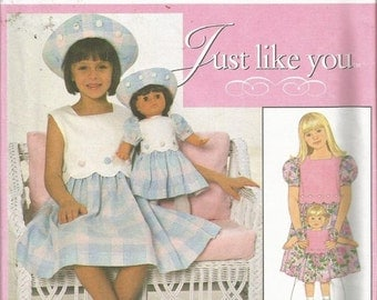 Pattern Simplicity 658  Girls Dress & Matching for Doll  Size 3-6 NEW