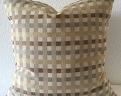SALE**Single Pillow Cover 18x18 inch - Gold Silver Brown Tan Stripe Checkered Satin look Home Decor Fabric