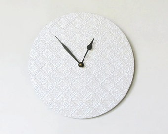 White Wall Clock, Faux Tile Home Decor,  Home and Living, Decor and Housewares,