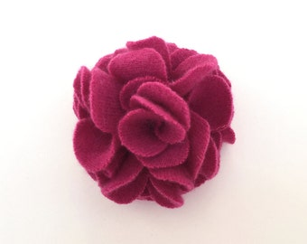 Pink Cashmere Flower Pin/Hair Clip -  Hair Accessory - Repurposed Cashmere - Upcycled Cashmere Brooch - Recycled Cashmere Flower