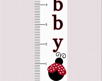 Personalized Red Ladybug Growth Chart Decal 60x12