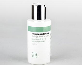 Conscious Skincare Gentle Exfoliant. Organic Facial Exfoliator. Dry and Sensitive Skin Types. Vegan. No nasties! 15ml SAMPLE SIZE.