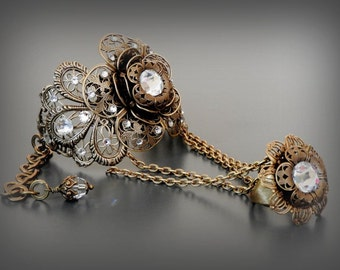 Swarovski Slave Bracelet Ring Bracelet Victorian Bracelet Ring Brass Bracelet Crystal Bracelet Wedding Jewelry Victorian Bridal Bracelet
