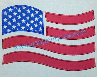 Flag 4th of July American Flag Embroidery Applique Design 4x4, 5x7, 6x10 hoop sizes - Instant Download