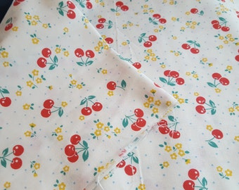 YUWA cherry fabric, 1930s reproduction fabric, retro cherry and floral on a white background, fat quarter