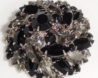 Domed Two Tone Black Smoky Glass Rhinestone Layered Chunky Vintage Cushion Brooch