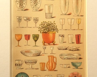 Antique Victorian 1896 Bookplate Mrs Beeton's Culinary Table GLASS  Cookery ART DECO Jug Nouveau Chromolithograph Print 1890s