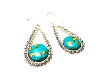 Wire Wrap Long Dangle Earrings Wire Wrap Copper Earrings Gemstone Earrings Red Copper Earrings Mosaic Turquoise Earrings Lapis Earrings