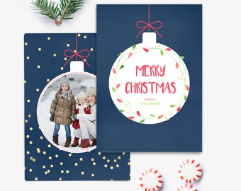 Holiday Card Template - Christmas Photo Card - Millers Luxe Ornament Pop Out Template - Photoshop Template - HC037