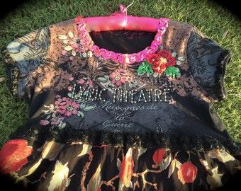 Boho French Street Theatre Dress Gypsy Esmerelda Roses Black Roses