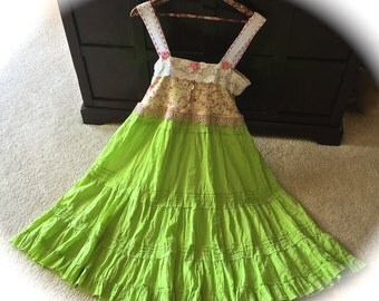 Lime Blossoms Fairytale Dress Sweetheart Shabby Chic Ruffled Swirly