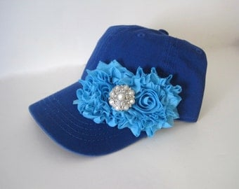 Youth Toddler Blue Baseball Cap with Blue Chiffon Flowers and Pearl and Rhinestone Accent