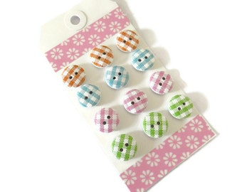 12 x 15mm Wooden Buttons - 15mm 2-hole Round Buttons - Assorted Colors