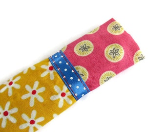 Yellow Protective Sleeve For Emery Board - Nail File Case - Emery Board Cover - Ribbon Detail