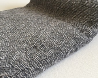 Turkish bath and beach towel stone washed hand loomed Damier Peshtemal Towel soft genuine handloomed in dark grey