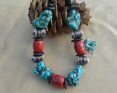 25 Inch Super Chunky Turquoise and Red Sponge Coral Necklace with Earrings
